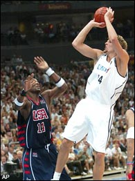 America basketball has seen an influx of Eastern European players (Dirk Nowitzki) on right