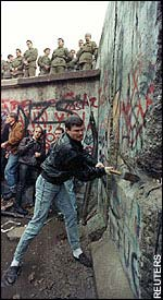 The beginning of the demolition of the Berlin Wall in 1989