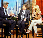 "John Kerry appeared Tuesday on ""Live With Regis And Kelly"" to try to impress the women audience"