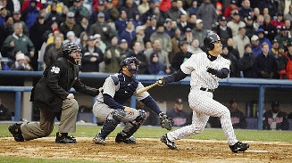 Hideki Matsui with his 31st homerun helped propel the Yankees to their Division title